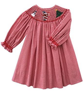 Smocked Christmas Dress.Carouselwear Girls Christmas Smocked Santa Claus Red Bishop Dress With Long Sleeves