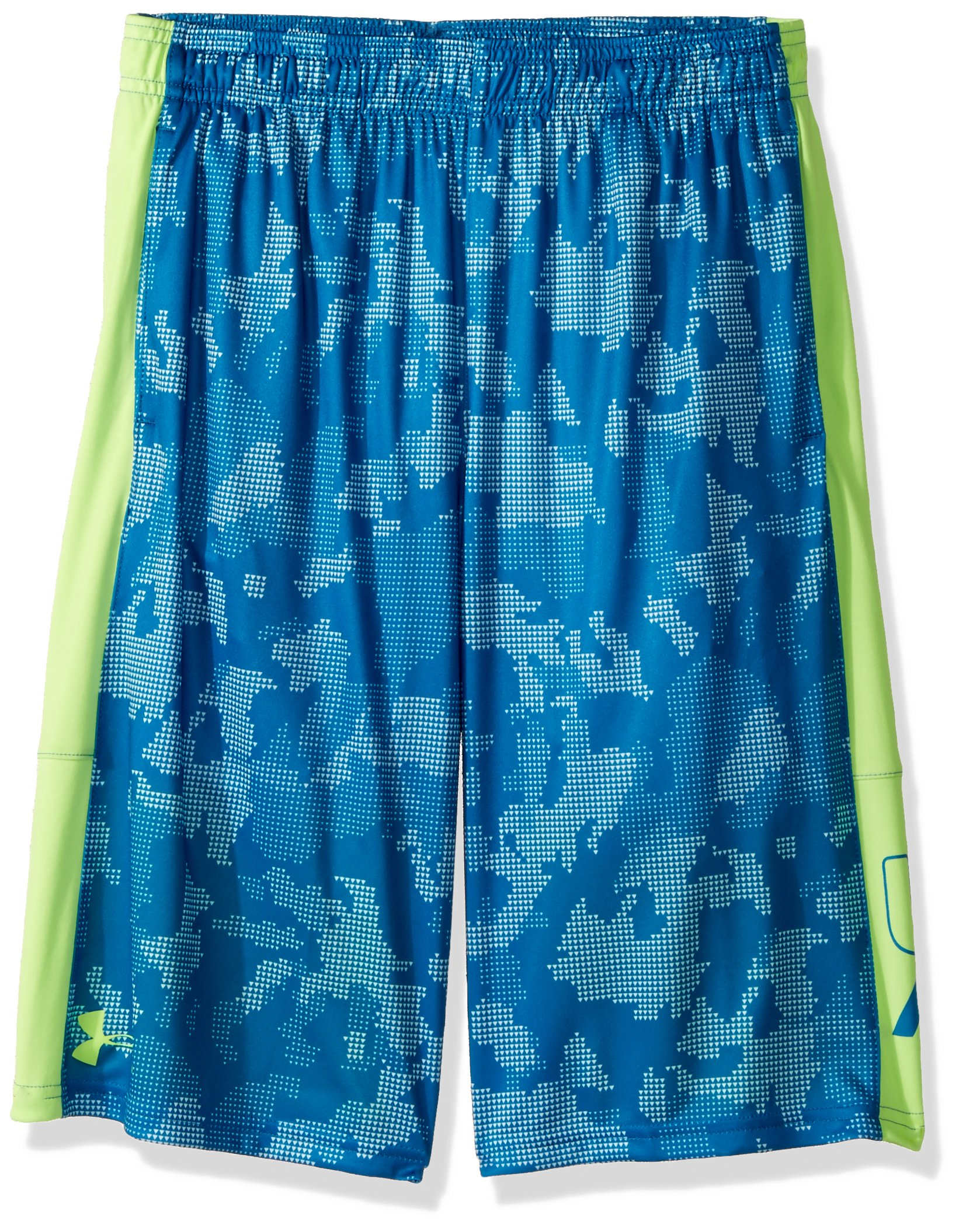 Under Armour Boys' Instinct Printed Shorts,  Cruise Blue /Quirky Lime Youth X-Large by Under Armour