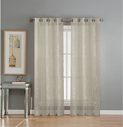 Window Elements Diamante Cotton Blend Burnout Sheer 76 x 84 in. Grommet Curtain Panel Pair, Ivory