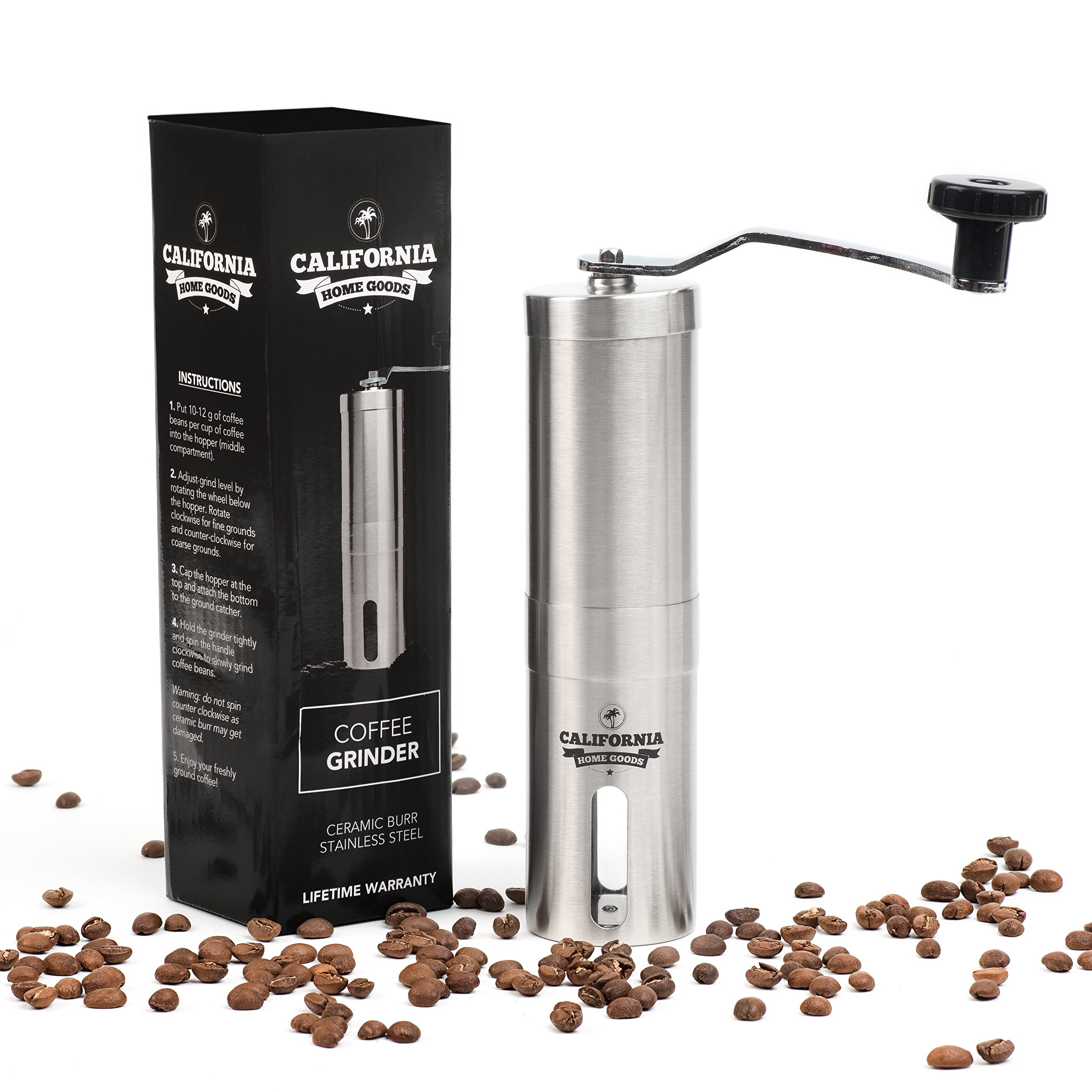 Premium Ceramic Burr Coffee Grinder - Portable Stainless Steel Coffee Mill by California Home Goods - Aeropress & Espresso Compatible