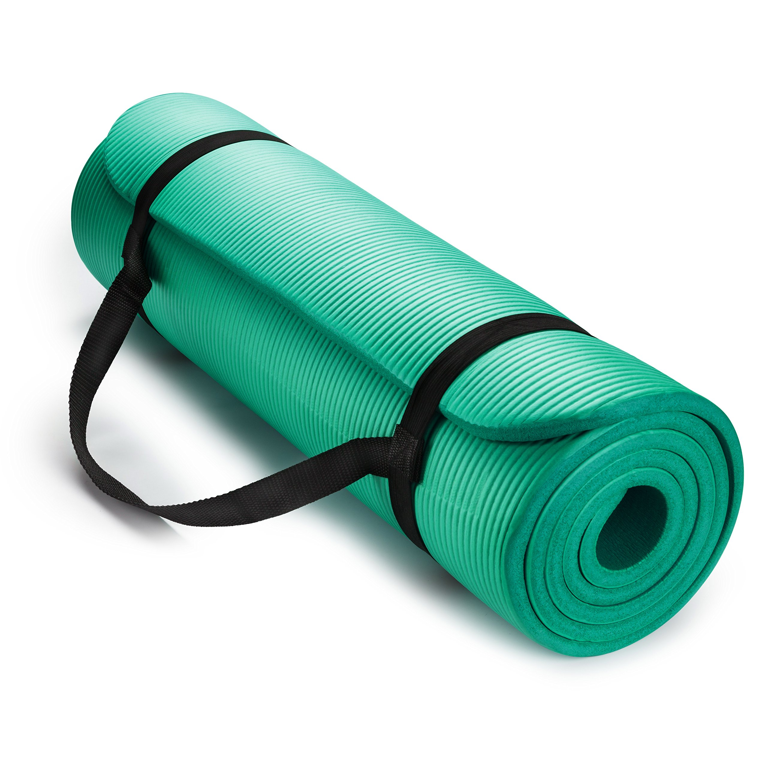 HemingWeigh 1/2-Inch Extra Thick High Density Exercise Yoga Mat with Carrying Strap (Teal)