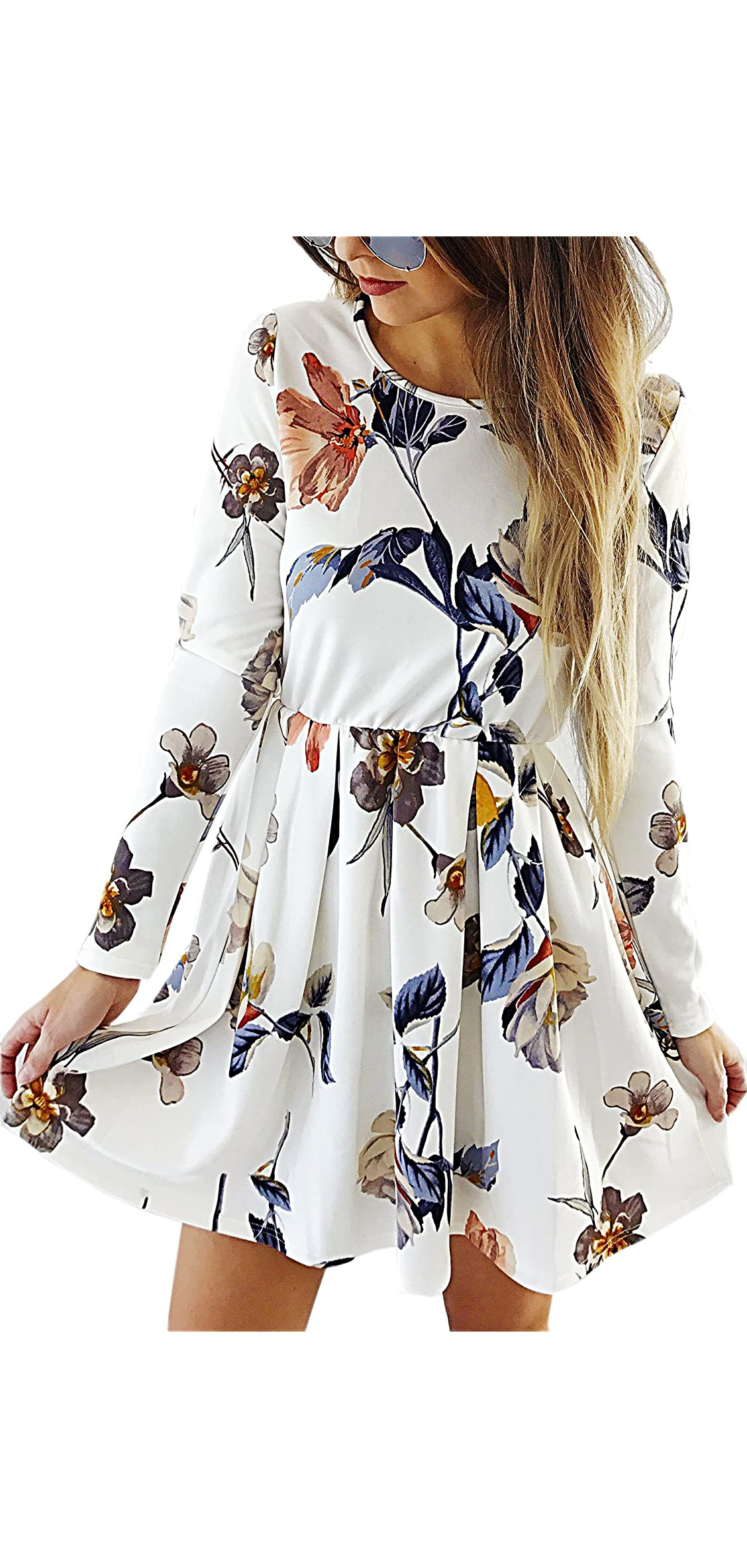 Womens Dresses Casual Floral Print Long Sleeve Swing A