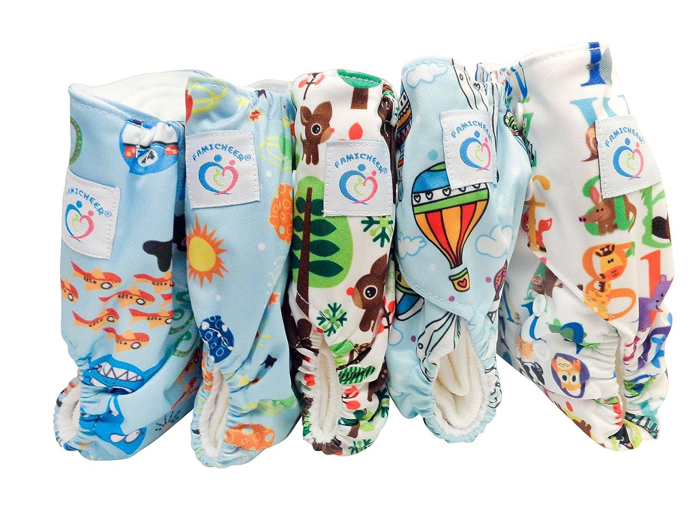 Famicheer Estampado Serie Pañales de tela (incluyendo 2 insertos)- Conjunto de 5 para los niños pequeños: Amazon.es: Bebé