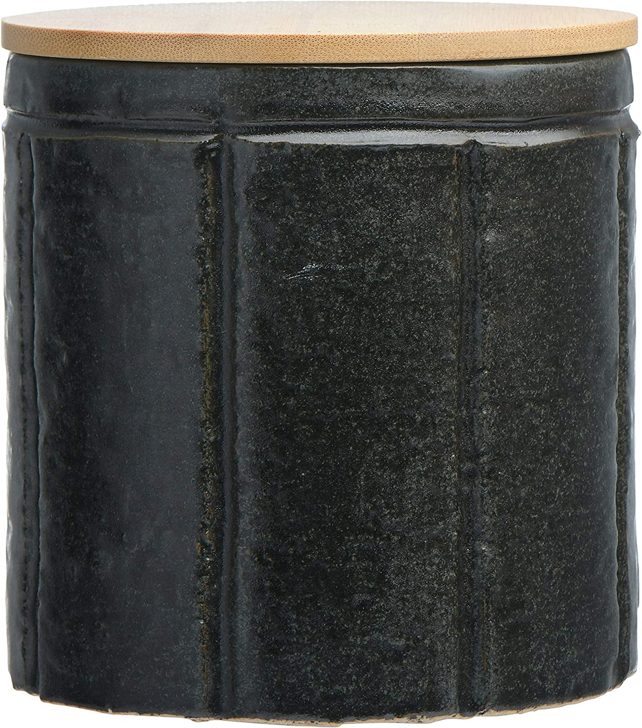 Bloomingville Black Stoneware Bamboo Lid Canister