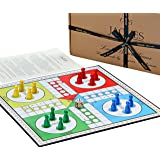 "Jaques of London Ludo - Ludo Board Game Set 12"" - Luxury Game Board with Wooden Pieces"