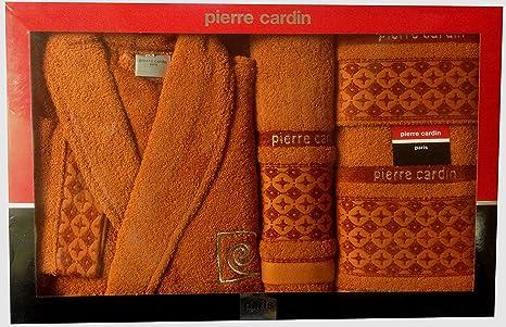 M/L naranja círculos de Pierre Cardin 4 piezas Albornoz y toalla Set, Plus