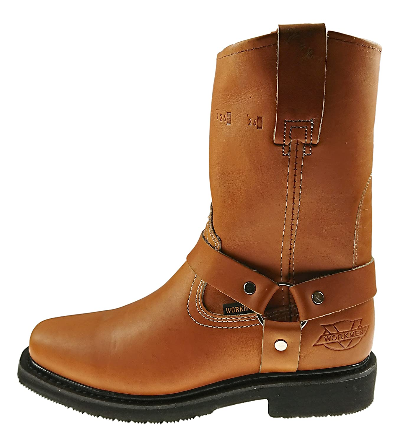 Mens Work Boots Pull On Biker Style Genuine Leather Honey Brown Black