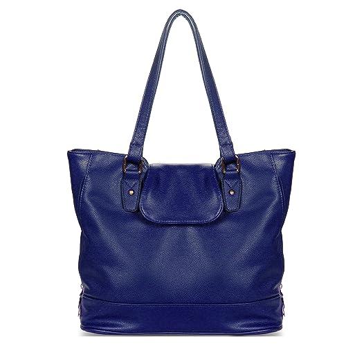 Amazon.com  YOLANDO Handbags For Women Large Vegan Leather Top Flap Tote Bag  T0006 (Blue)  Shoes 5cea8d94396bb