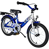 BIKESTAR® Premium Kids Bike ★ For safe and carefree joy of playing kids aged from 4 years ★ 16s Classic Edition ★ Champion Silber & Adventurous Blue