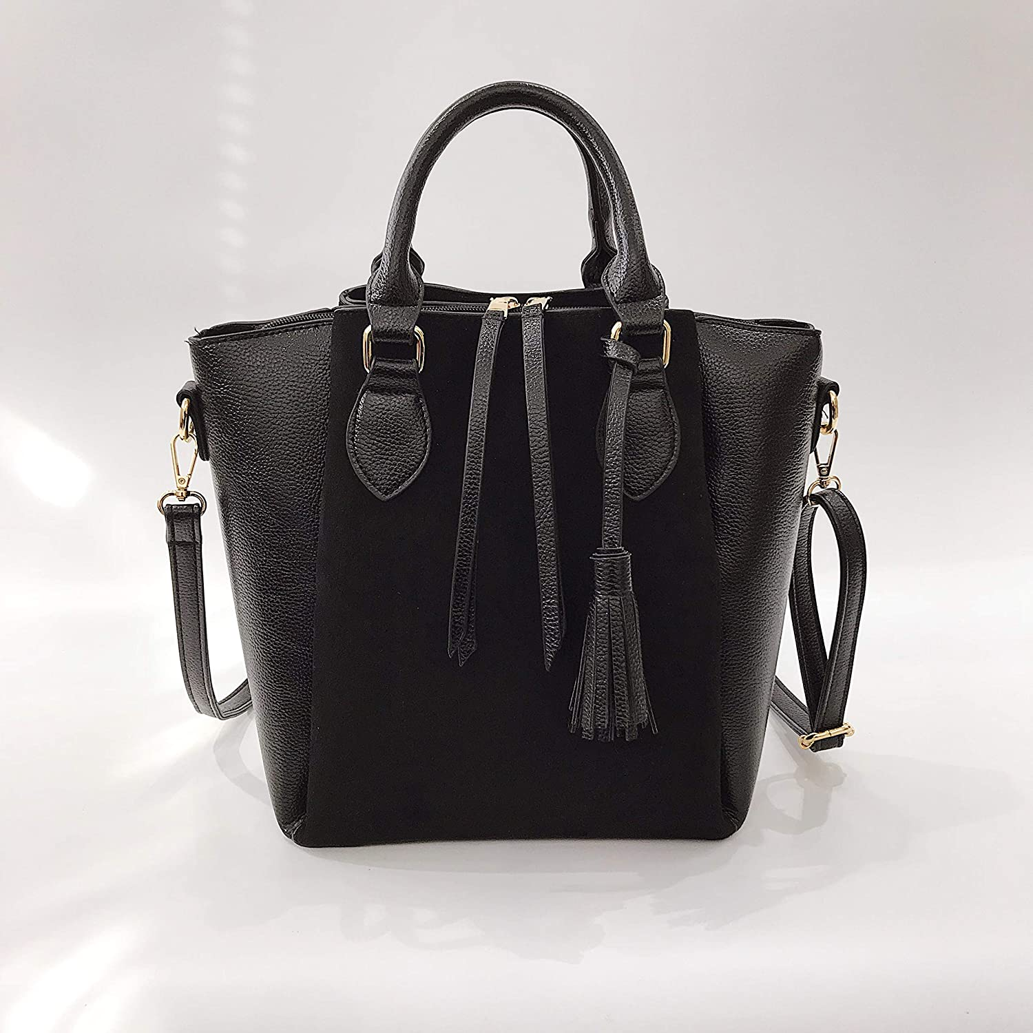 Montmo Leather Handbags for Women Top Handle Bags Ladys Purse with Tassels
