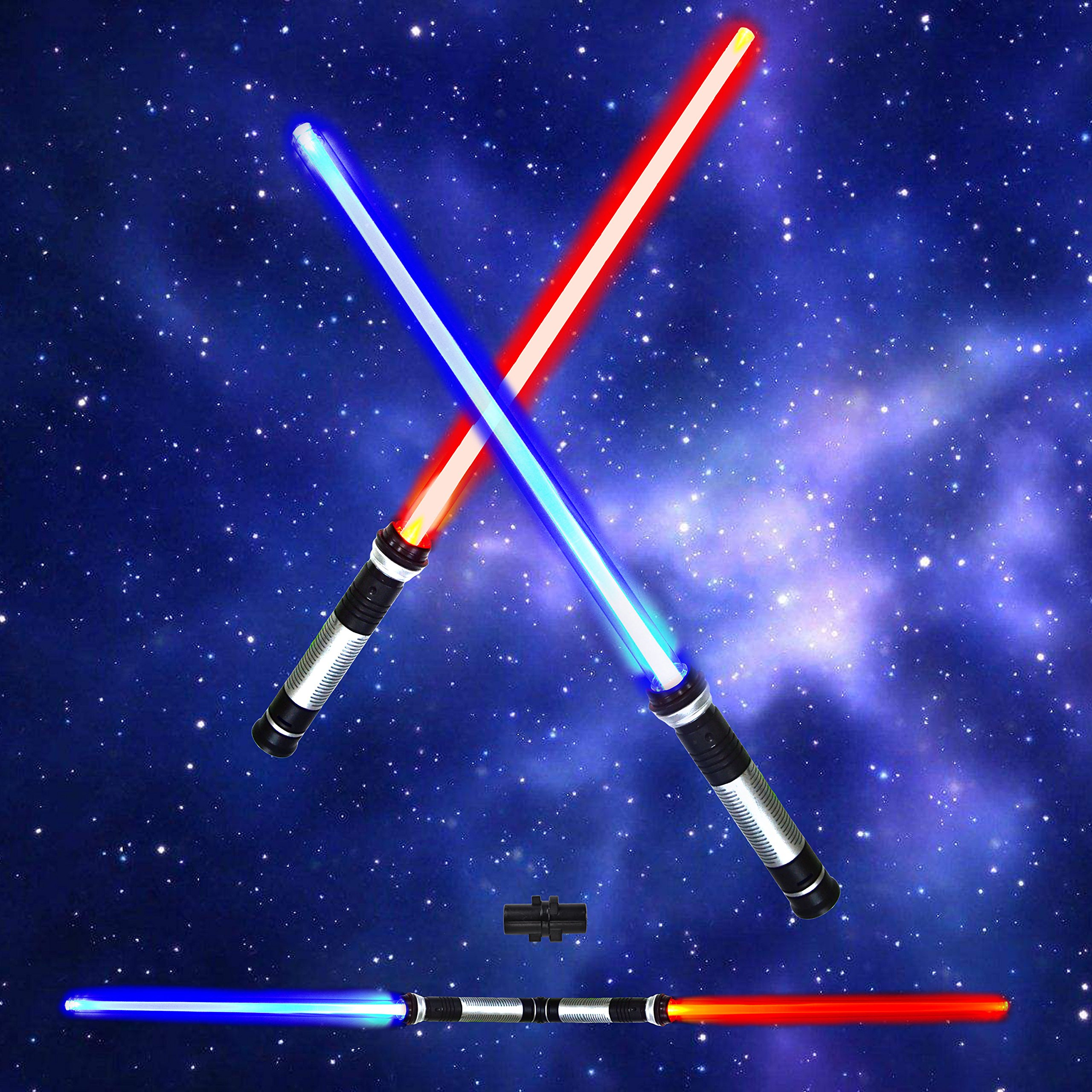 Light Saber 2-in-1 LED (6 Colors) Light Up FX Laser Dual Swords Set with Sound (Motion Sensitive) for Galaxy War Fighters and Warriors by Spooktacular Creations