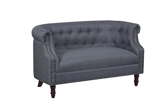 Container Furniture Direct Huton Collection Contemporary Upholstered Linen Wingback Loveseat with Solid Wood Frame and Button Tufted Details, Dark ...