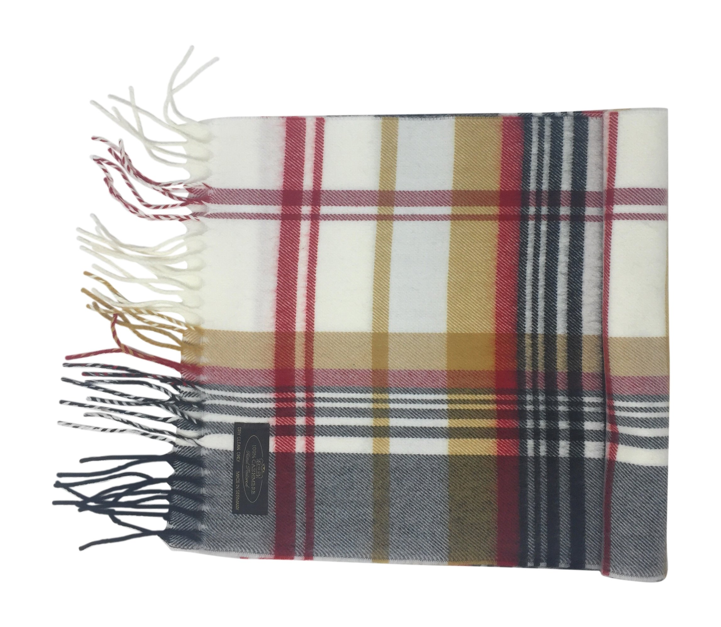 Annys 100% Cashmere Plaid Scarf 12x72 with Gift Bag - Men Cashmere - Cashmere Women (22 Colors) (Plaid - White/Black/Red/Camel)