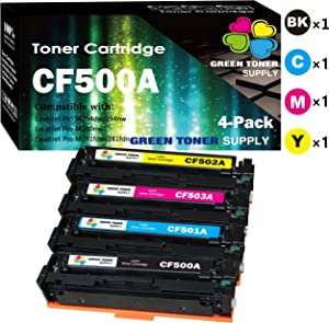 (4-Pack, B+C+M+Y) Compatible 202A Toner Cartridge CF500A CF501A CF502A CF503A Used for HP Color Laserjet Pro MFP M281fdw M281cdw M254dw M254dn M254nw MFP M281fdn M281fdn M280nw Printer, by GTS