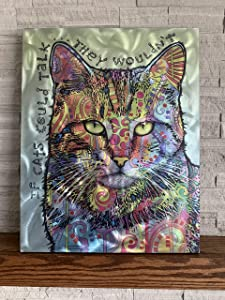"iLove Home Decor Textured Metal Wall Art - Talking Cat Decor Wall Print- Abstract Wall Art 24""x19""x1.5"""