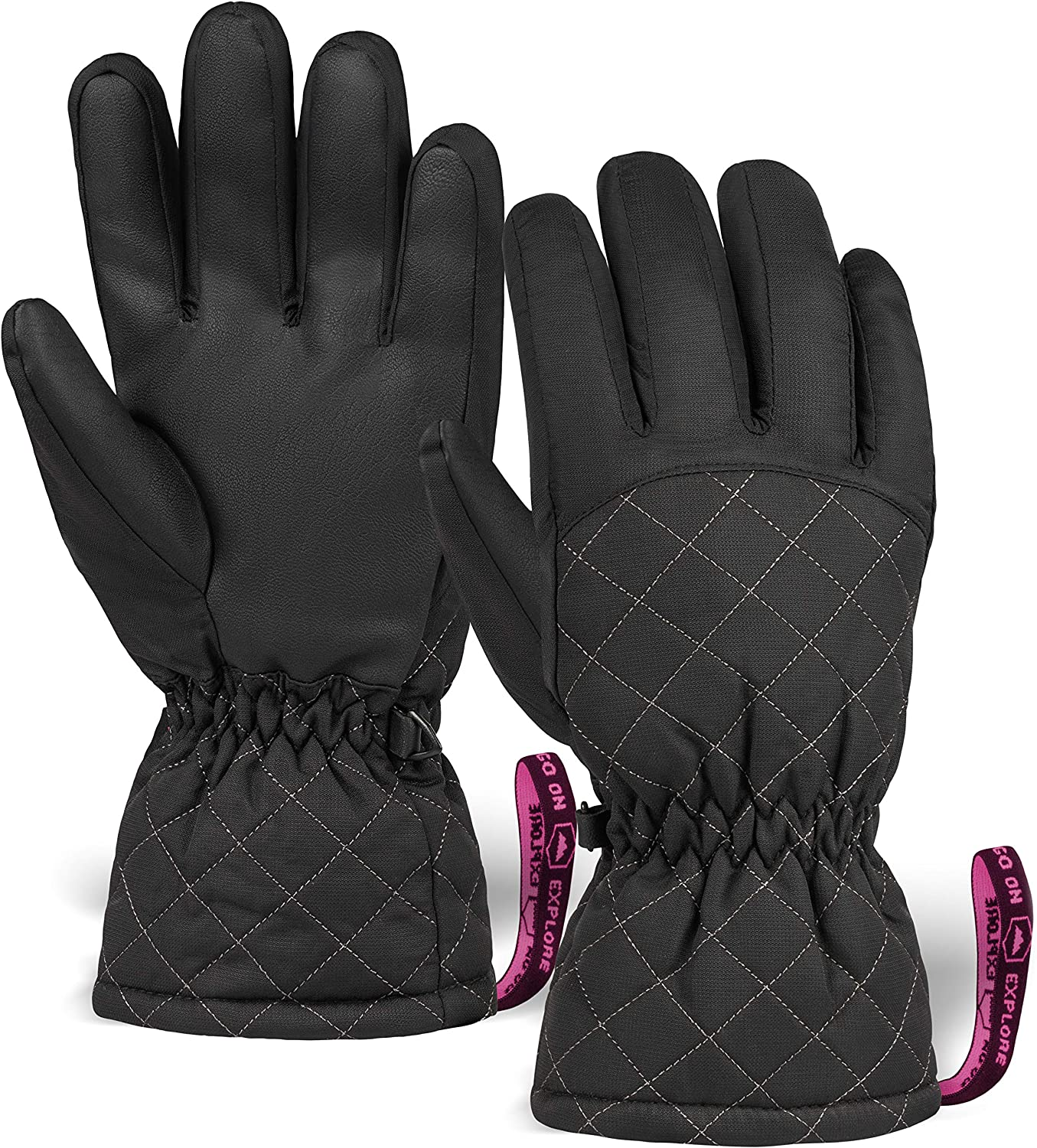 Womens Snow & Ski Gloves - Waterproof & Windproof Winter Snowboard Gloves for Cold Weather Skiing & Snowboarding - With Nylon Shell, Thermal Insulation, Synthetic Leather Palm & Wrist Straps : Clothing