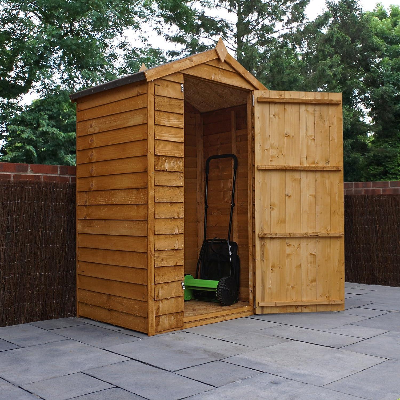3 x 4 de madera superposición jardín cobertizo, sin ventanas, puerta, suelo hoja sólido, Apex techo, 3 ft 4 pies 3 - 5 días entrega + 10 años de garantía ...