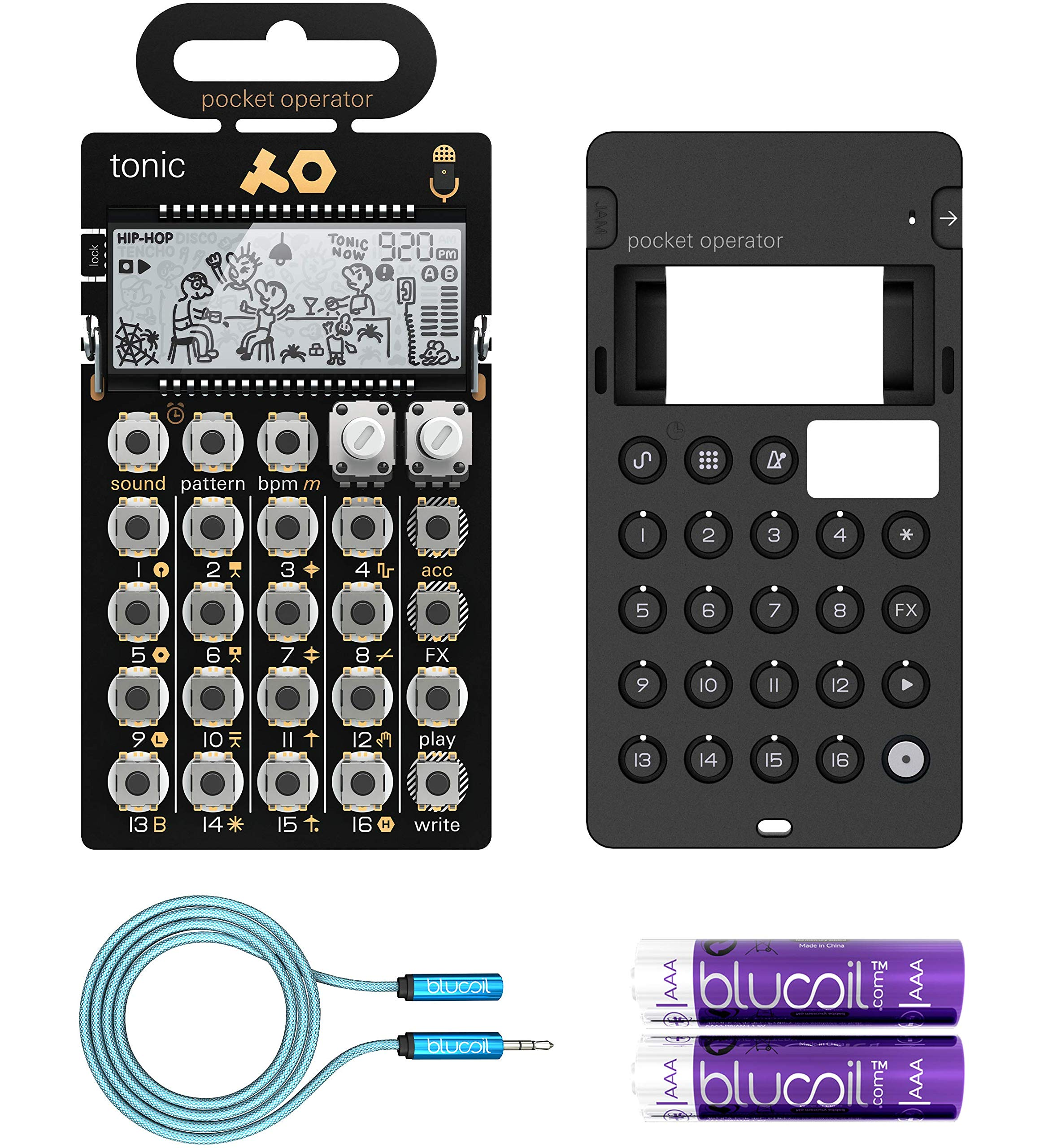 Teenage Engineering PO-32 Tonic Pocket Operator Built-In Mic, Patterns & Sounds Synthesizer & Sequencer Bundle with CA-X Silicone Case, Blucoil 6-FT Headphone Extension Cable (3.5mm) & 2 AAA Batteries