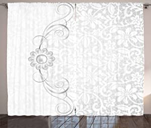 "Ambesonne Grey Curtains, Lace Inspired Flourish Motifs Background with Bridal Flower Border Wedding Pattern, Living Room Bedroom Window Drapes 2 Panel Set, 108"" X 84"", Silver White"