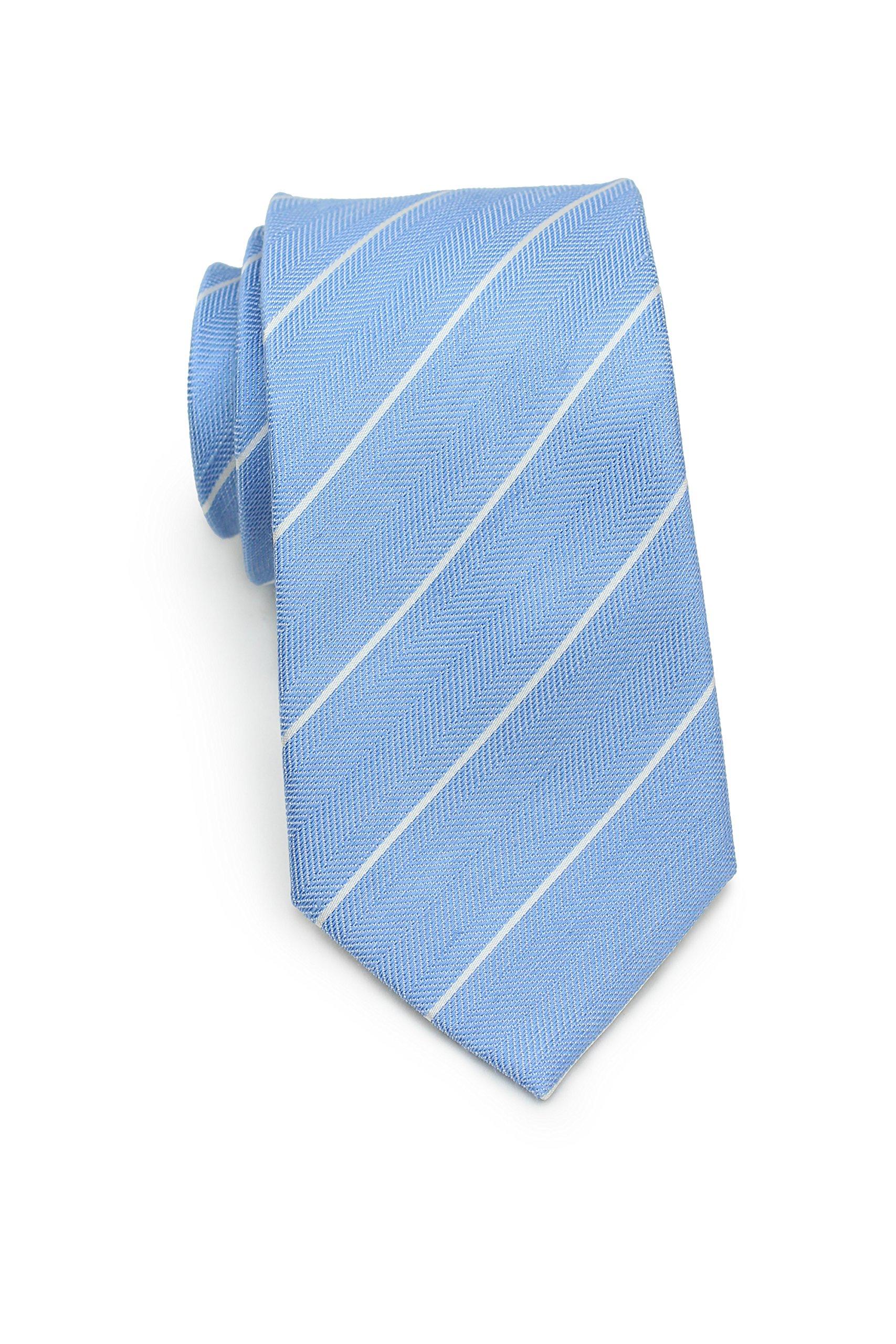 Bows-N-Ties Men's Necktie Summer Pastels Linen Skinny Matte Tie 2.75 Inches (Powder Blue Stripes)