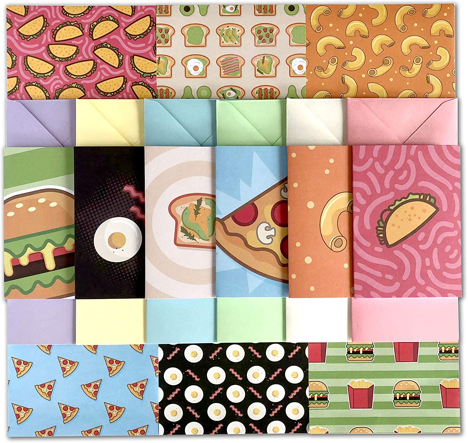 54 Piece Stationary Paper Pack - Fun & Colorful Themes - Pen Pal Set Includes Printed Paper & Greeting Cards With Matching Envelopes (Food Festivities)