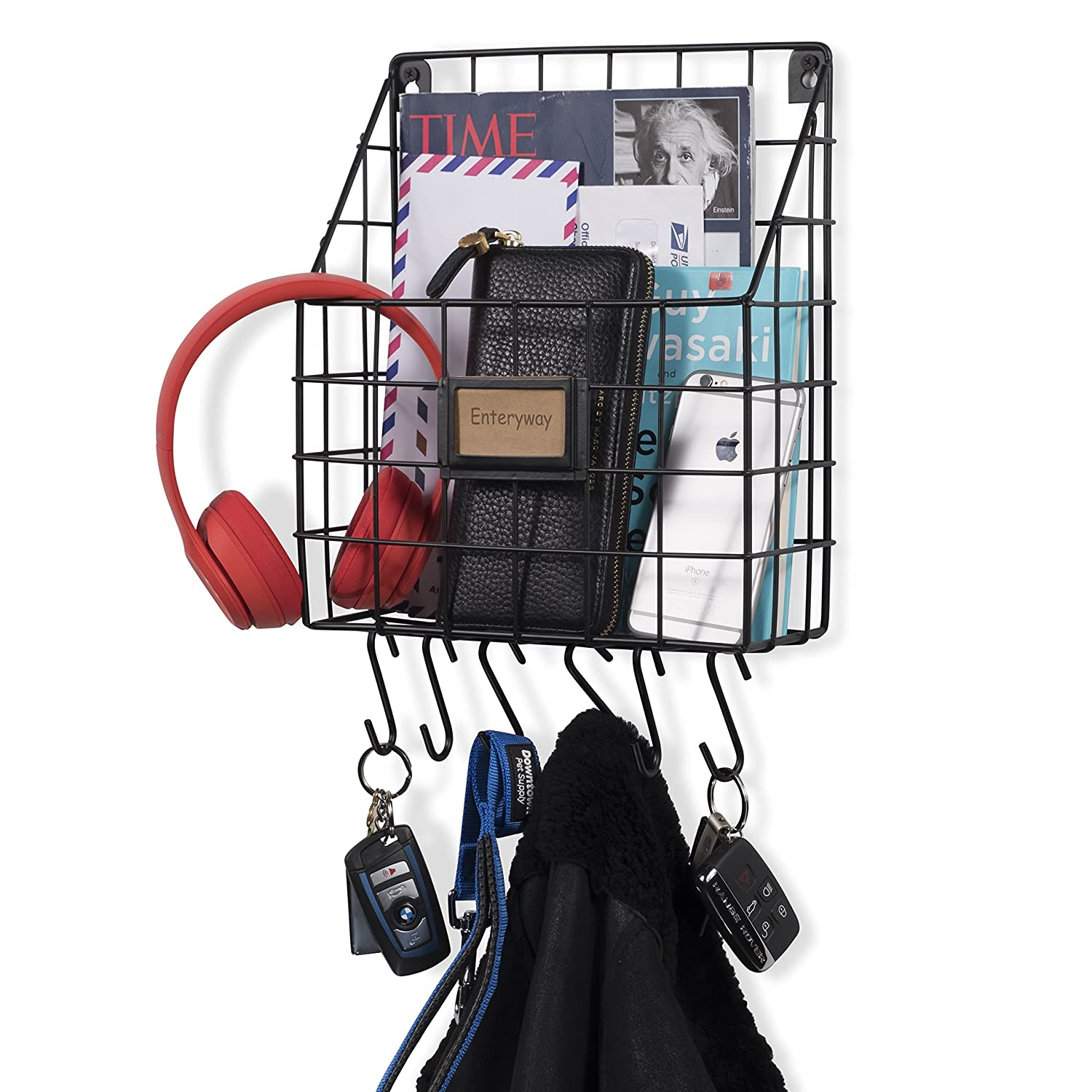 Wall35 Multipurpose Mail Organizer Wire Basket Wall Mounted with S Hooks Magazine Holder Coat Rack Foyer Storage with Key Hooks for Kitchen Entryway and Garage Black