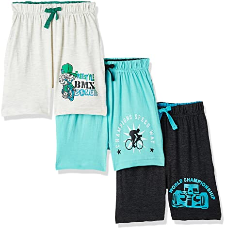 Cloth Theory Boys' Regular Fit Cotton Shorts (Combo Pack of 3) Boys' Shorts at amazon