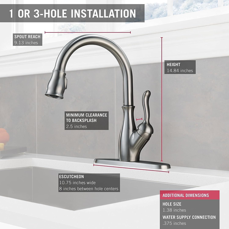 Delta 9178-DST Leland Single Handle Pull-Down Kitchen Faucet (Chrome ...