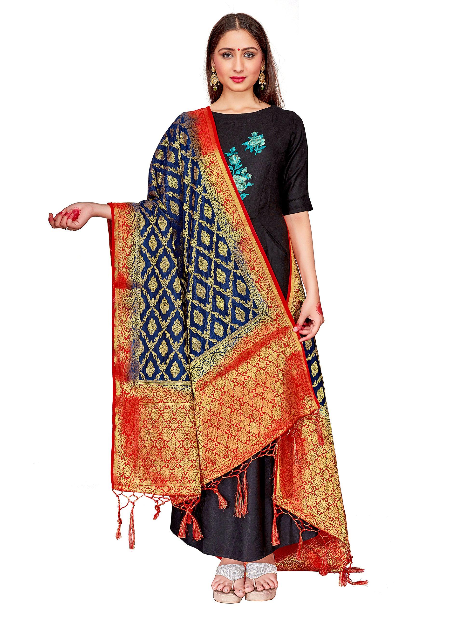 ELINA FASHION Women's Zari Work Indian Banarasi Art Silk Woven Only Dupatta Dress Material & Salwar Suit (Navy Blue 1)