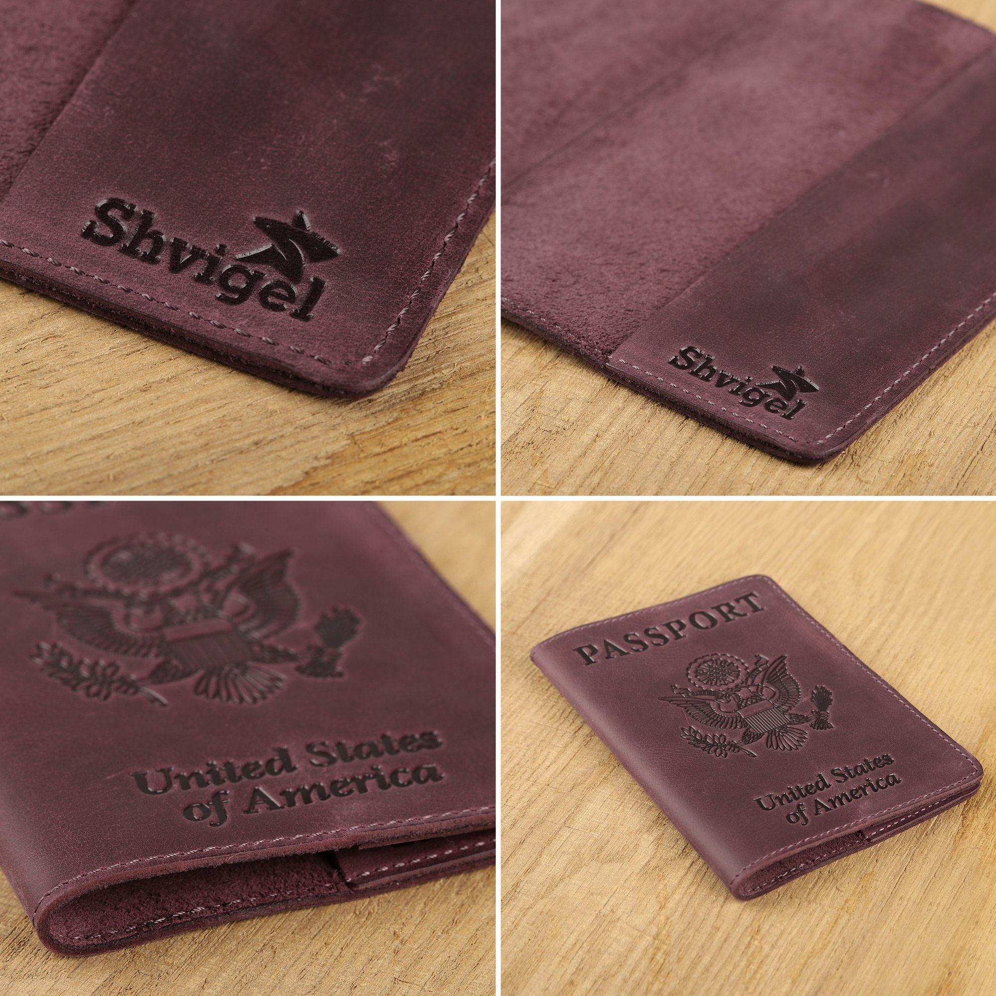 Shvigel Leather Passport Cover - Holder - for Men & Women - Passport Case (Maroon Vintage) by Shvigel (Image #4)