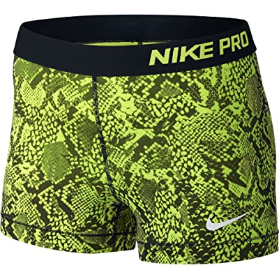 Nike Women's Pro Cool 3-Inch Training Shorts (Black/Volt Snake/X-Small)