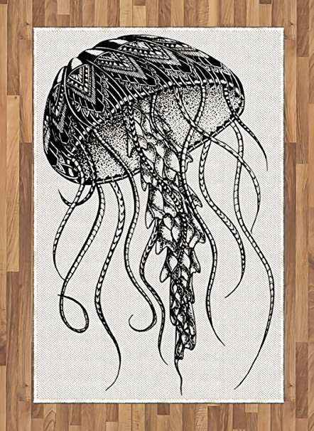 b1f2eef50 Lunarable Tattoo Area Rug, Artistic Pencil Drawn Style Ocean Theme Jellyfish  with Ethnic Tribal Print