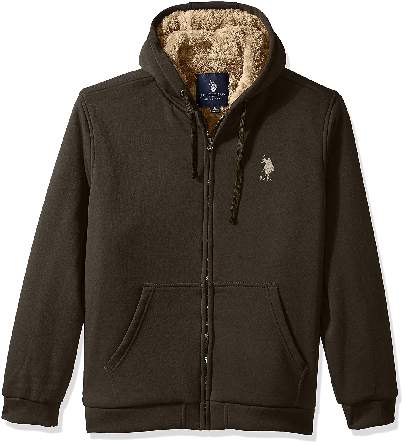 Mens Big and Tall Fully Sherpa Lined Fleece Hoodie U.S Polo Assn
