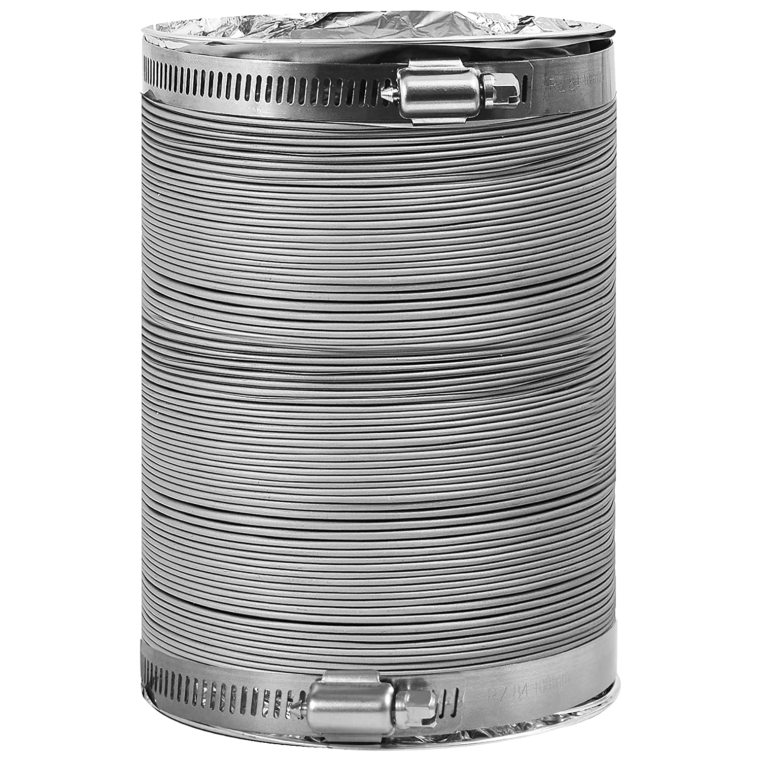 Dryer Vent Hose Transition Duct 4 inches Extra Strong Aluminum Interior and Flexible Tear Resistant PVC Outer Shell 12 ft HVAC or Grow Room Heat Ventilation 2 Premium Screw Clamp Connections