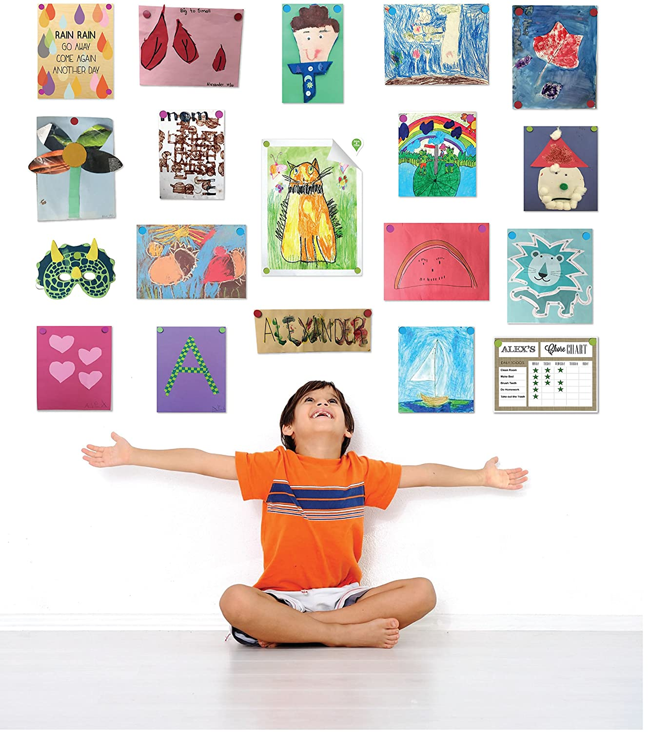 GoodHangups for Kids Art Damage Free Magnetic Hangers Reusable Works on Any Wall As Seen On Shark Tank 40 Pack GHK008