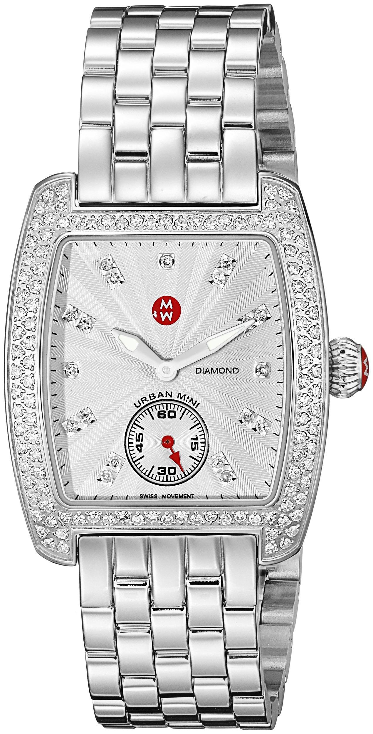 MICHELE Women's MWW02A000508 Urban Mini Analog Display Swiss Quartz Silver Watch