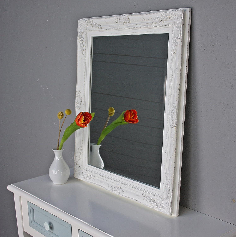 Specchio da parete barocco, bianco antico, legno, stile shabby ...