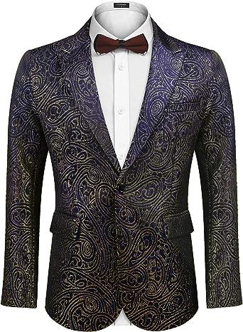 Men/'s Lapel Collar Blazer Floral Bar Coat Jackets Slim Fit Formal Dress Outwear