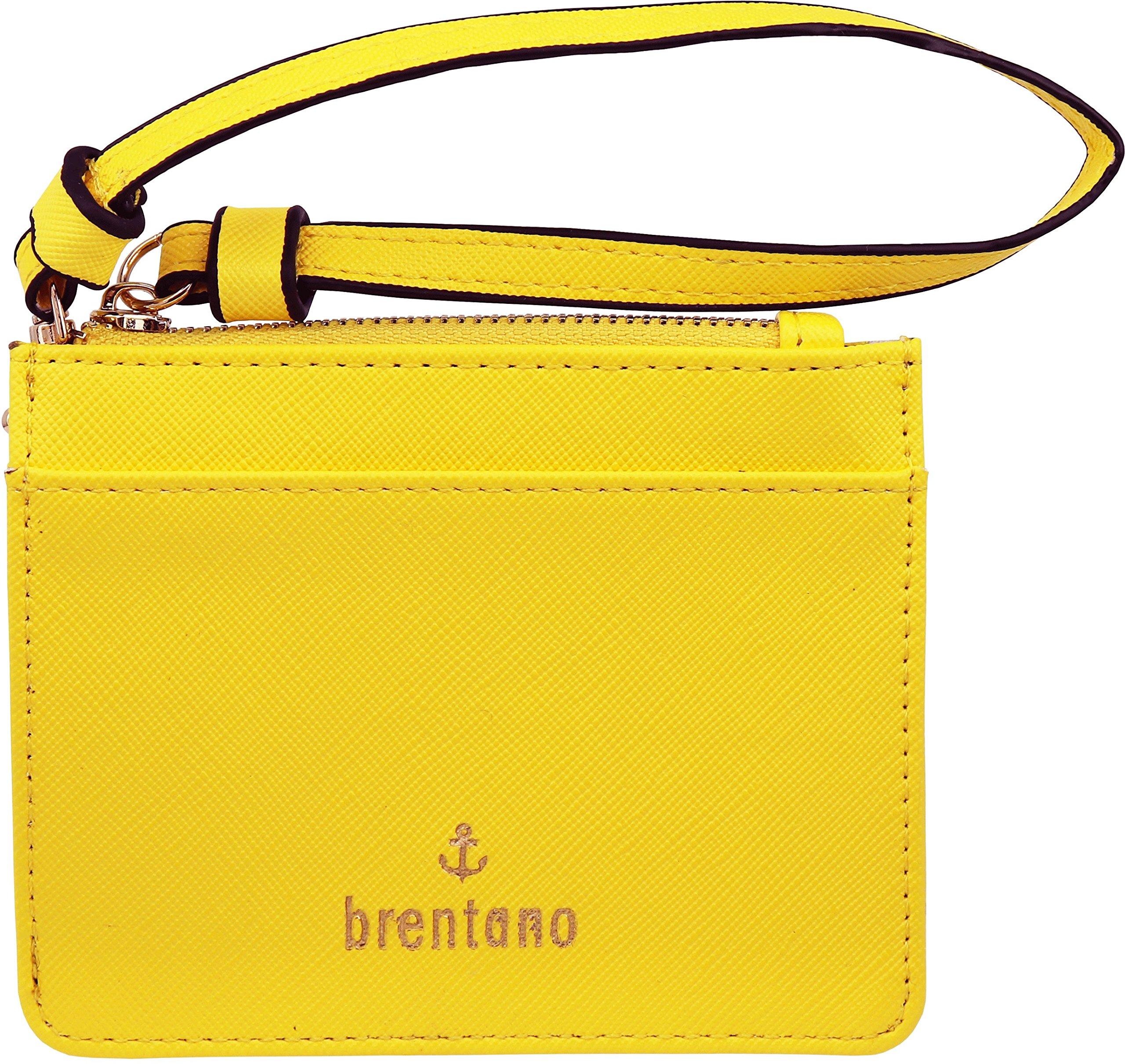 B BRENTANO Vegan Saffiano Leather Slim ID Credit Card Case with Wristlet Strap (Yellow)