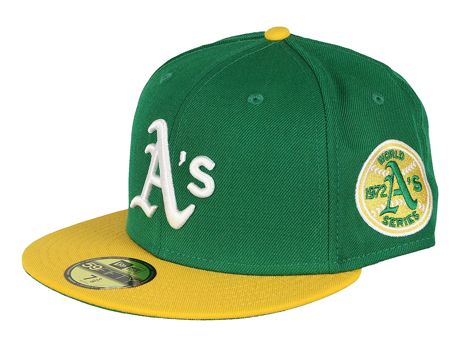 New Era Men s Oakland A s 1972 World Series 59Fifty Fitted Cap 7 1 4 Green  Yellow at Amazon Men s Clothing store  824c0f81715f