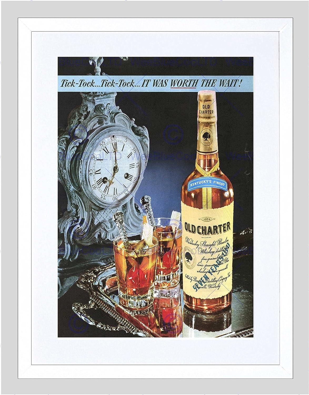 Advert Booze Bourbon Whisky Old Charter Beverage Drink 12X16 Inch Framed Print