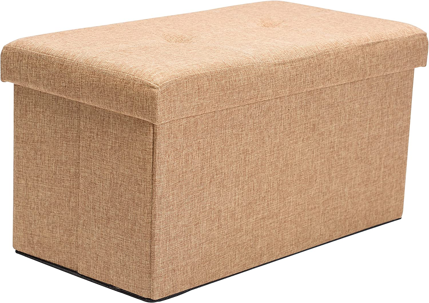 Simplify Linen Folding Storage Ottoman, Toy Box Chest, Tufted Padded Seating, Bench, Foot Rest, Stool, Double, Camel