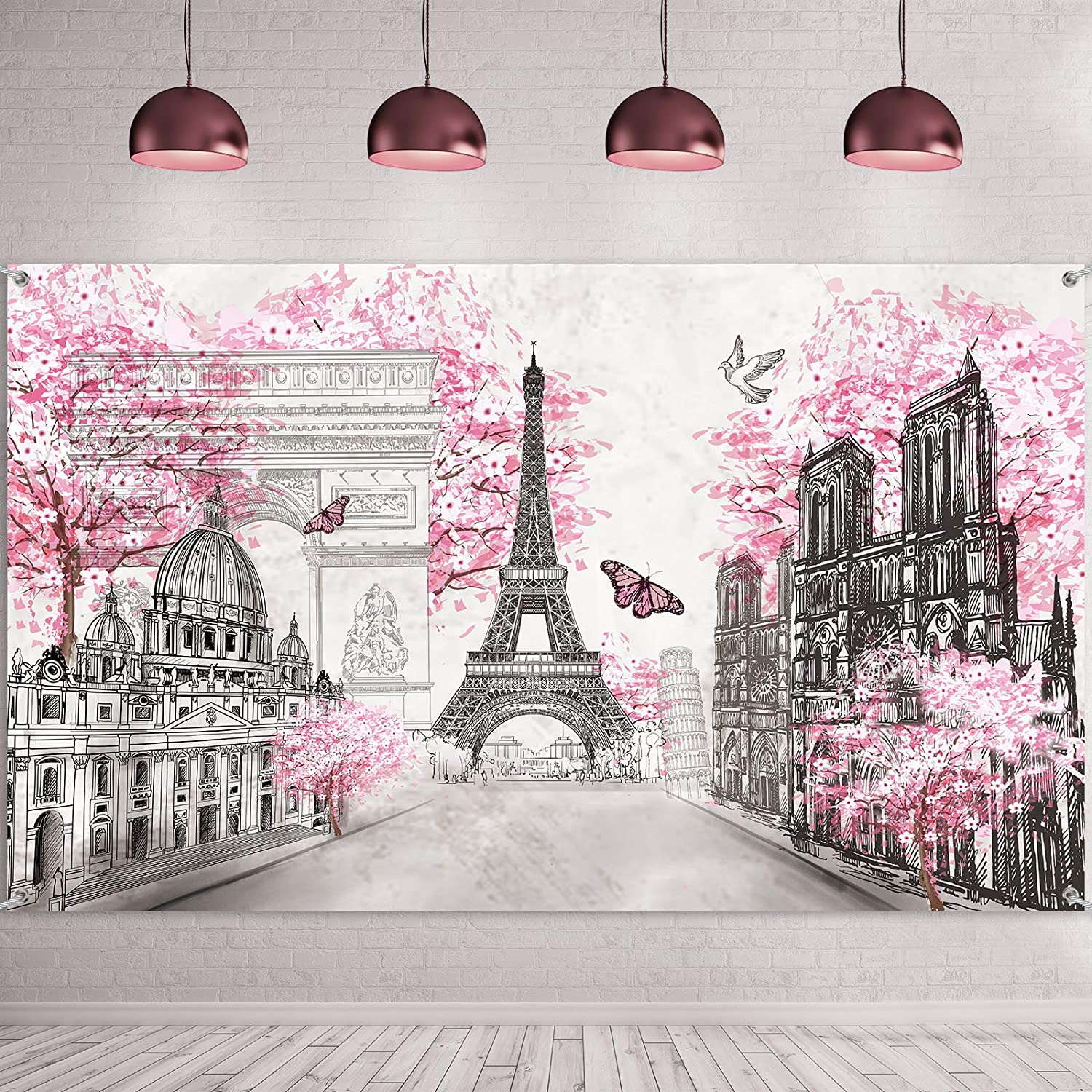 Paris Tapestry Backdrop Paris Wall Art Eiffel Tower Photo Banner Background European City Landscape Pink Wall Hanging Decor for Living Room Girl Bedroom Paris Themed Party Decoration, 72.8 x 43.3 Inch