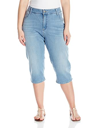 Riders by Lee Indigo Women's Plus Size Ultra Soft Denim Capri ...