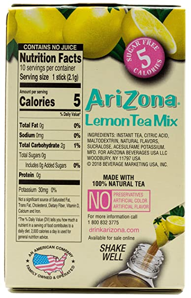48d334c597 Amazon.com   Arizona Lemon Iced Tea Stix Sugar Free