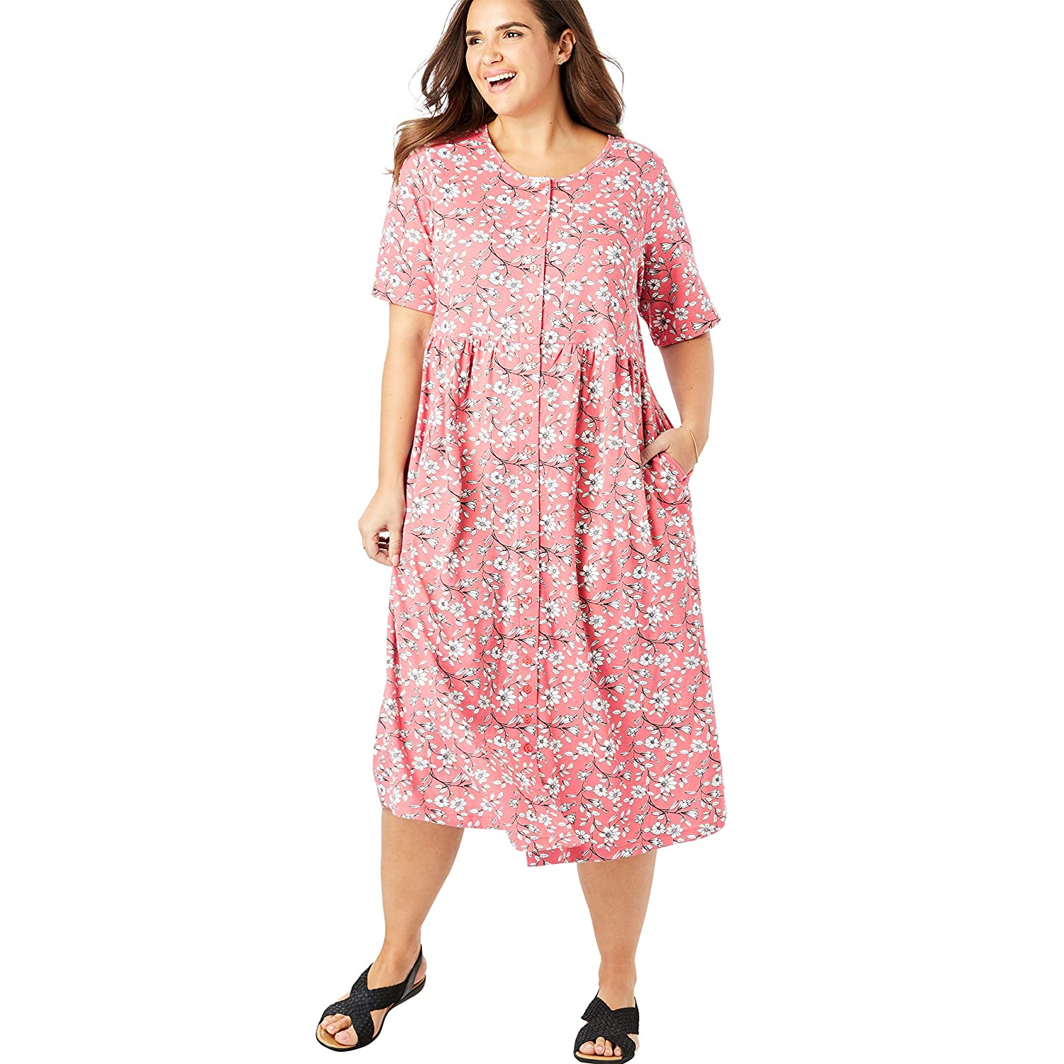 9c8fa4e81b4 Only Necessities Women s Woman Within Plus Size Petite Button-Front  Essential Dress at Amazon Women s Clothing store
