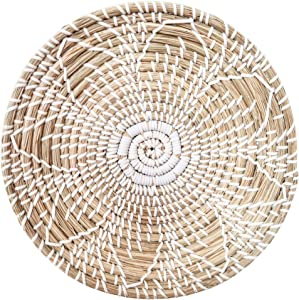 HEMBUK Multi-use Natural Seagrass Baskets | Handmade Woven Fruit Basket | Boho Decor Wall Hanging Basket | Decorative Bowl | Home Gifts for Friends and Family (Medium - 12inch)