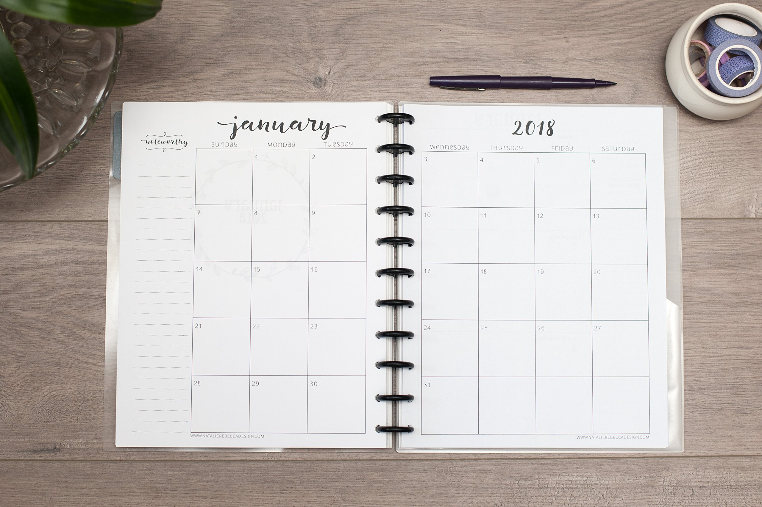 2019 Monthly Calendar for Disc-Bound Planners, Fits 11-Disc Circa Letter, Arc by Staples, TUL by Office Depot, Letter Size 8.5''x11'' (Notebook Not Included)
