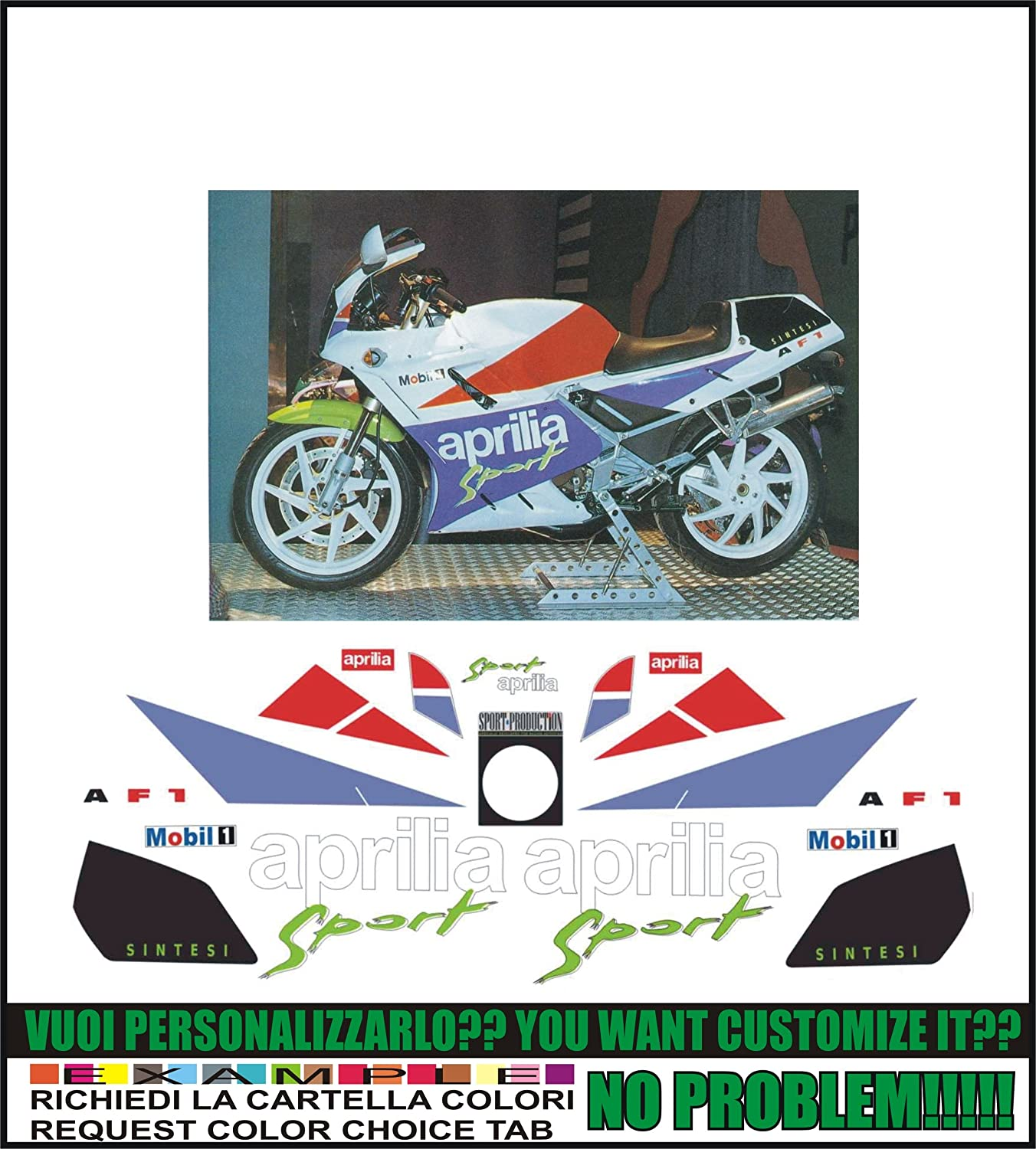 Kit adesivi decal stikers APRILIA AF1 125 SINTESI 1990 SPORT ability to customize the colors