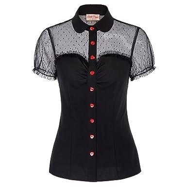 3a9793f0254a06 Belle Poque Women s Retro Vintage Short Sleeve Lapel Collar Heart Button Shirts  Blouse Black Size S
